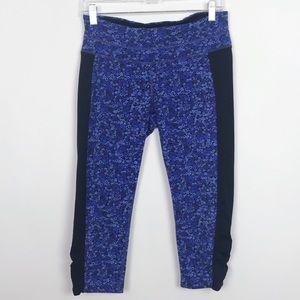 Athleta Blue Floral Print Capri w/Black Panels